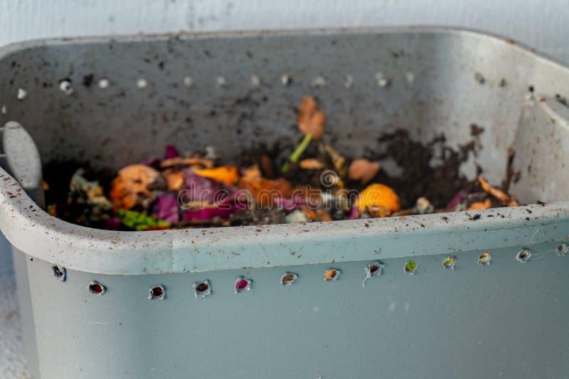 Escaninho de adubo do vermiculture do sem-fim com furos de respiração para adubar do aprtment fotos de stock royalty free