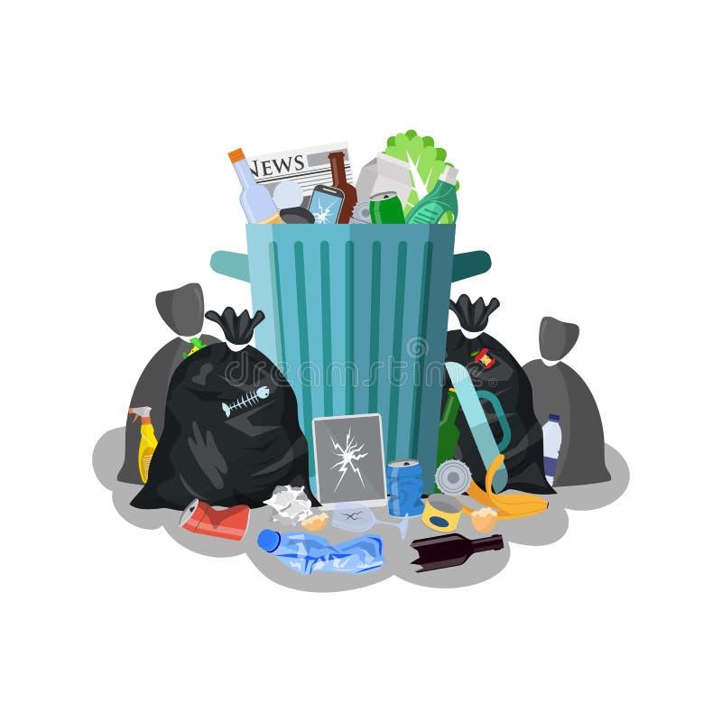 Escaninho de lixo de aço completamente do lixo ilustração stock