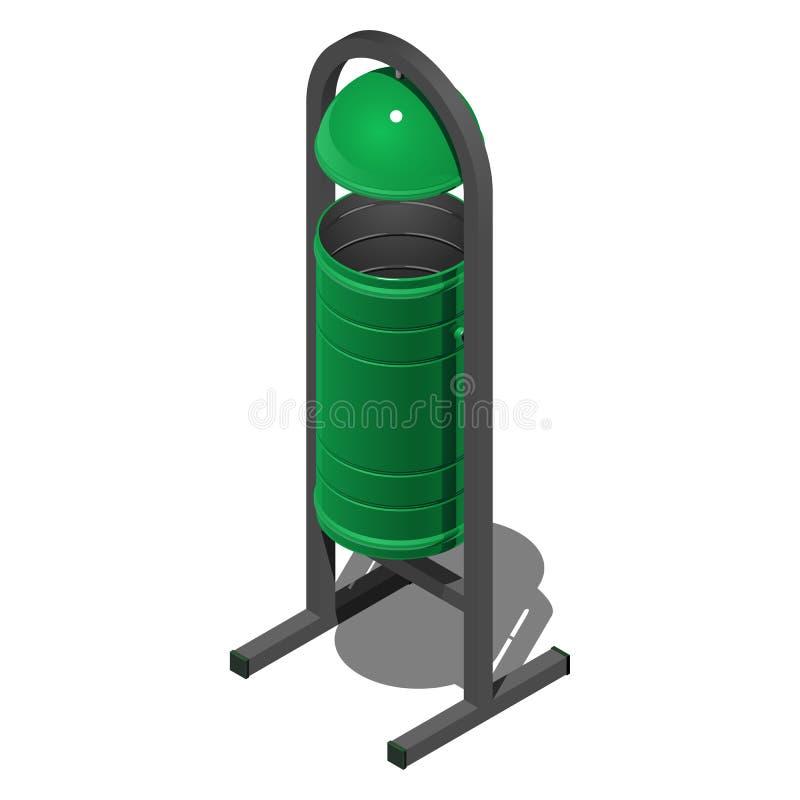Escaninho de lixo cilíndrico verde da rua com tampa, ilustração isométrica do vetor no fundo branco ilustração royalty free