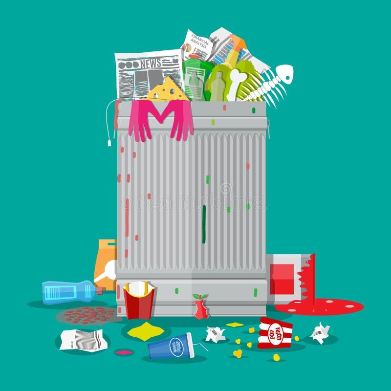 Escaninho de lixo completamente do lixo Recipiente de transbordamento ilustração do vetor