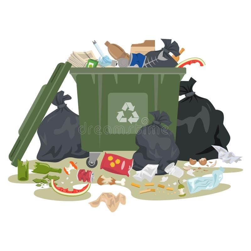 Escaninho de lixo completamente do lixo no fundo branco ilustração do vetor