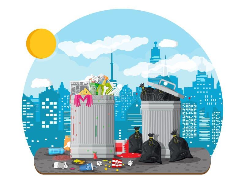 Escaninho de lixo completamente do lixo Recipiente de transbordamento ilustração stock