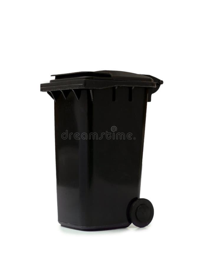 Escaninho de lixo preto no fundo branco imagens de stock royalty free