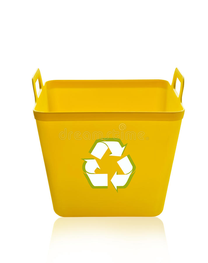 Escaninho de reciclagem amarelo imagem de stock royalty free