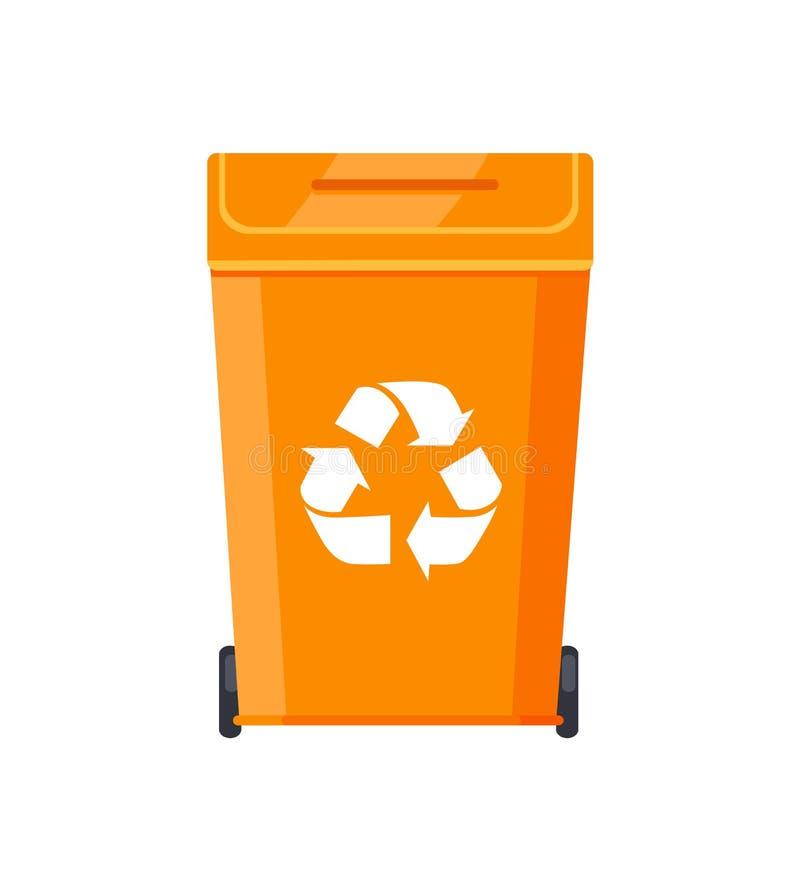 Escaninho plástico brilhante dos desperdícios com reciclagem do sinal ilustração royalty free