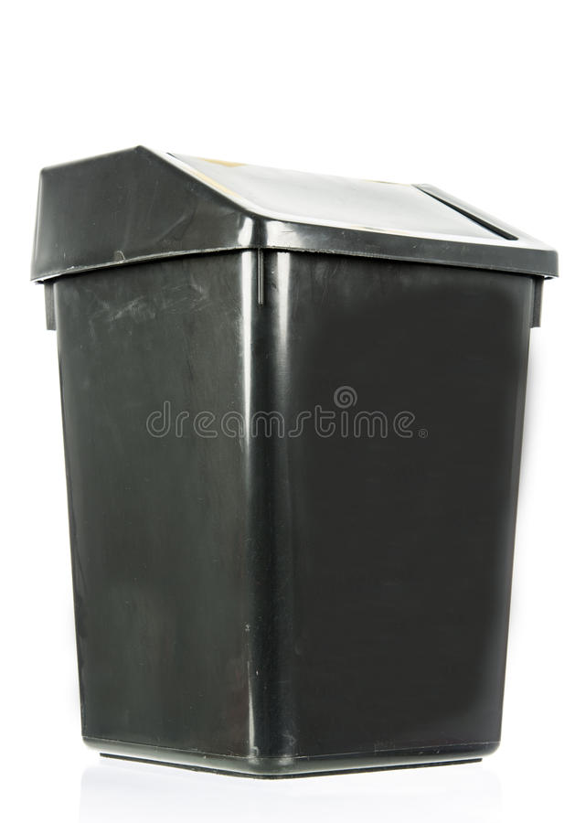 Escaninho preto velho sujo isolado lixo isolado imagens de stock