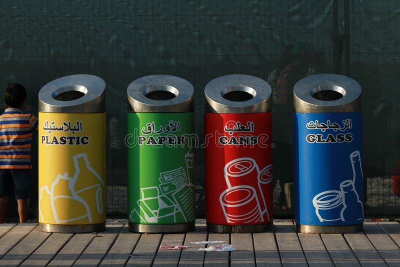Escaninhos waste bonitos e coloridos fotografia de stock