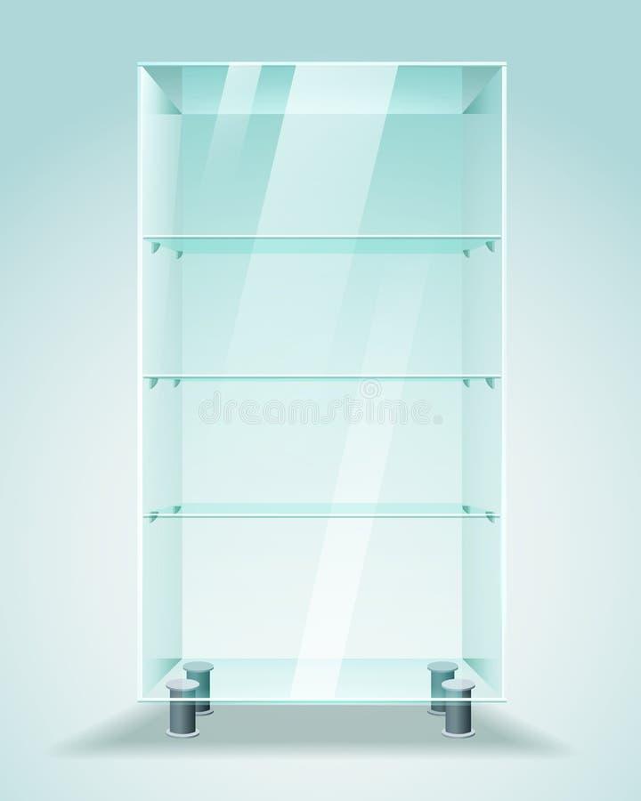 Escaparate de cristal con los estantes stock de ilustración