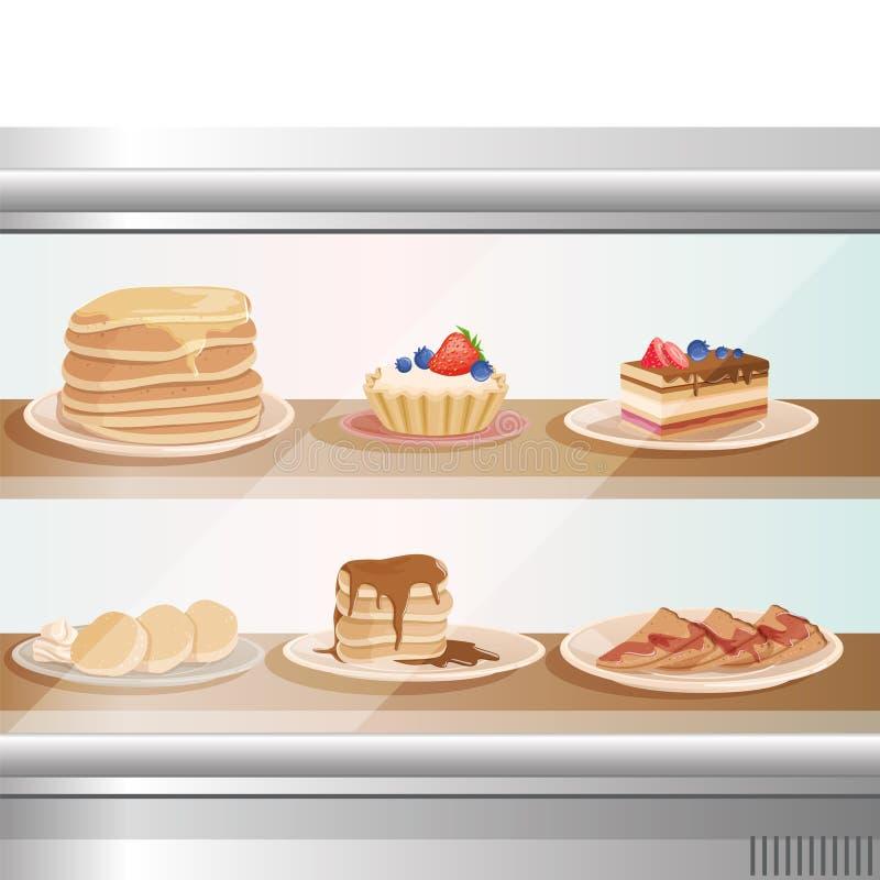 Escaparate de cristal de la tienda del café o de la panadería con los diversos postres dulces Pila de crepes, buñuelos, magdalena stock de ilustración