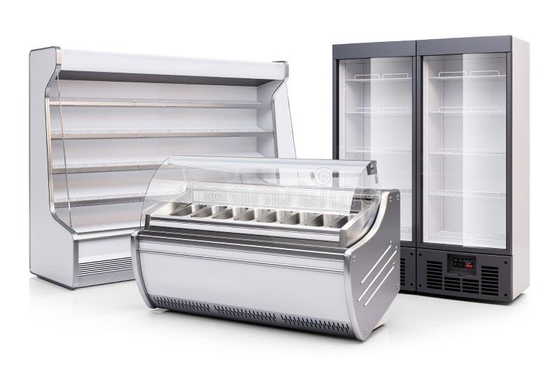 Escaparate del congelador, gabinete refrigerado y refrigerador 3d rinden ilustración del vector