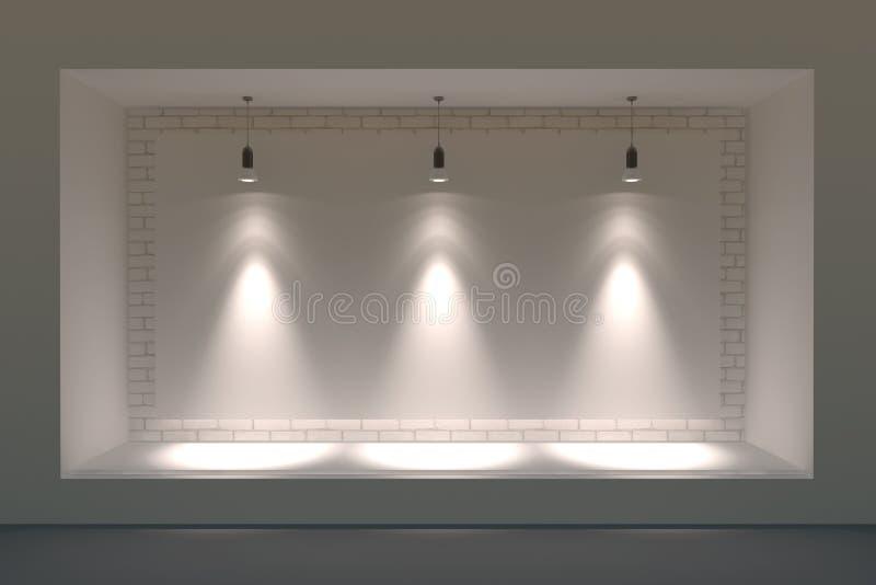 Escaparate o podio vacío con la iluminación y una ventana grande imagen de archivo libre de regalías