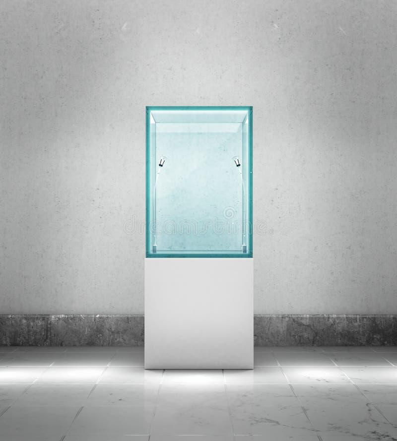 Escaparate vacío con los reflectores, contra la pared gris fotografía de archivo libre de regalías