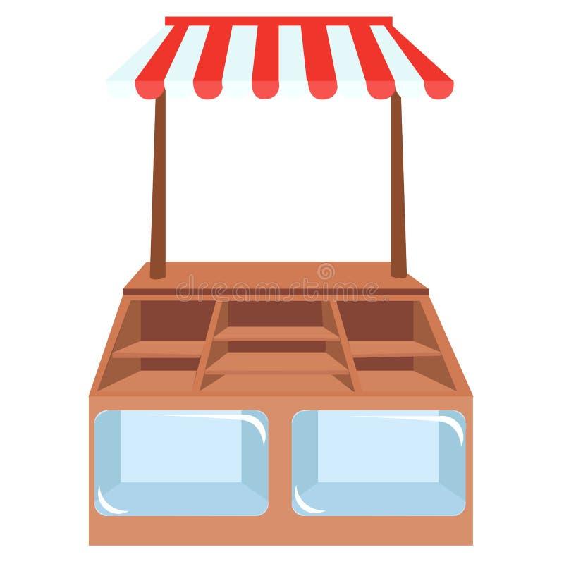 Escaparates de la tienda, estantes de una tienda o ilustración del vector