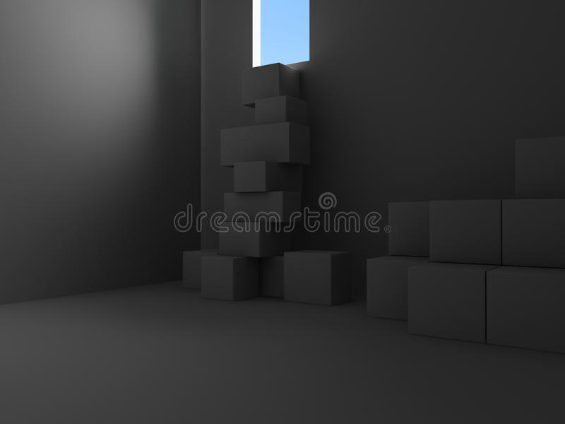 Escape from the cellar. 3d render royalty free illustration