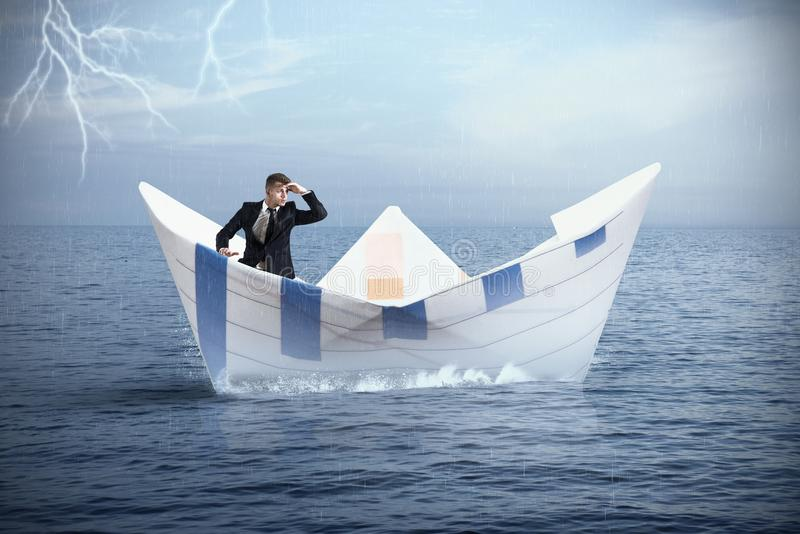 Escape from the crisis stock image