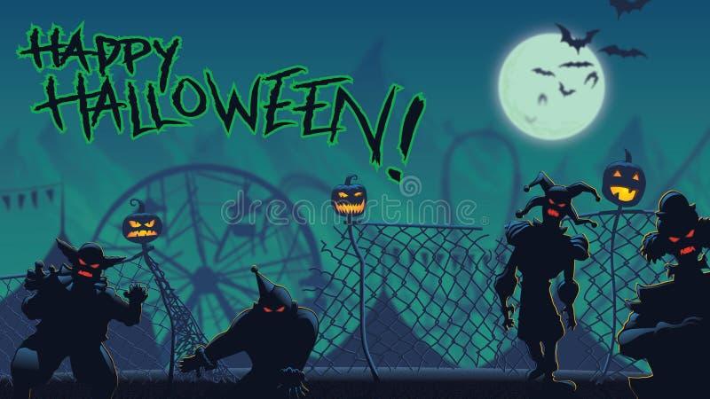 Escape da meia-noite de Dia das Bruxas do carnaval assombrado ilustração do vetor
