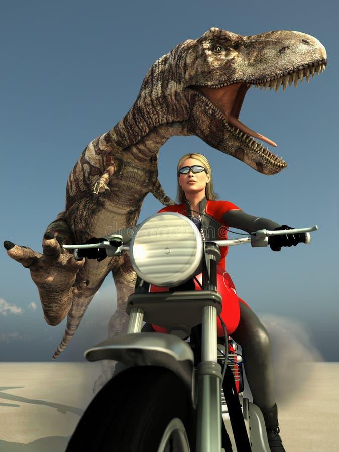 Escape da mulher do motociclista do t-rex ilustração do vetor