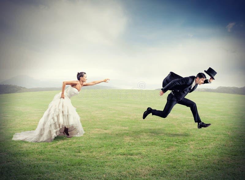 Escape de la boda fotos de archivo libres de regalías