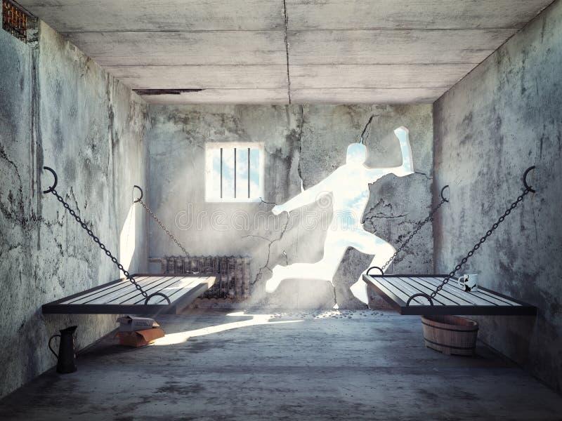 Escape de una celda de prisión stock de ilustración