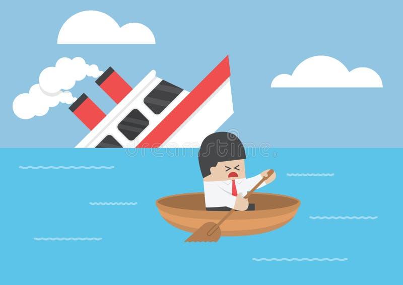 Escape del hombre de negocios del naufragio stock de ilustración
