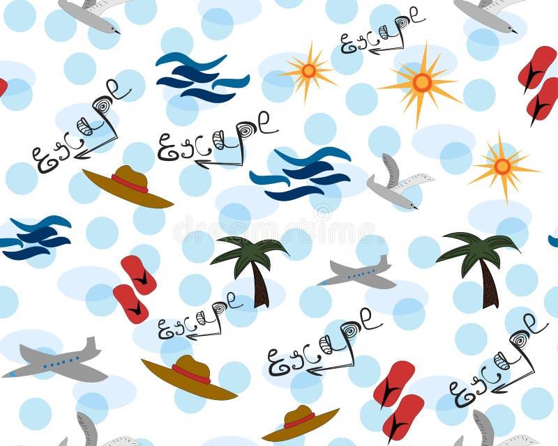 Escape do verão Feriado bonito sem emenda ilustração royalty free