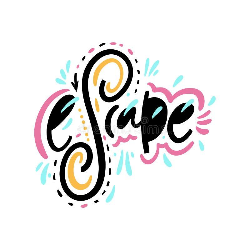 escape För vektoruttryck för hand utdragen bokstäver bakgrund isolerad white vektor illustrationer