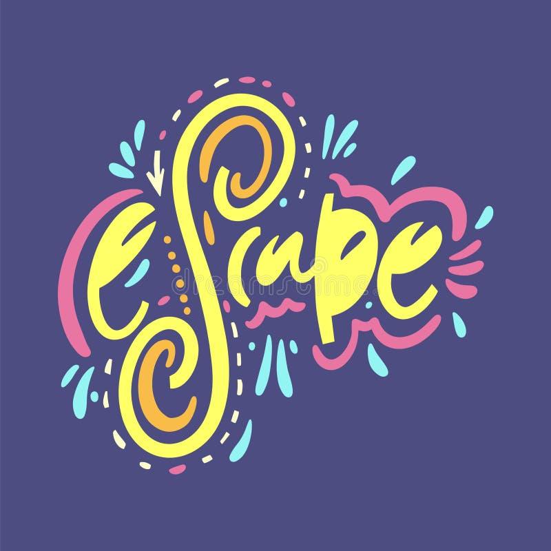 escape För vektoruttryck för hand utdragen bokstäver Isolerat p? bl?ttbakgrund vektor illustrationer