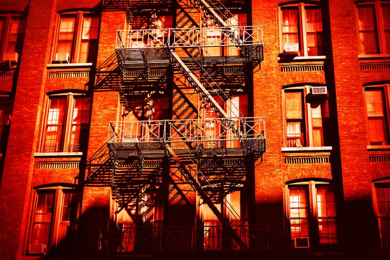 Escape fire ladders in Dumbo, Brooklyn royalty free stock photos