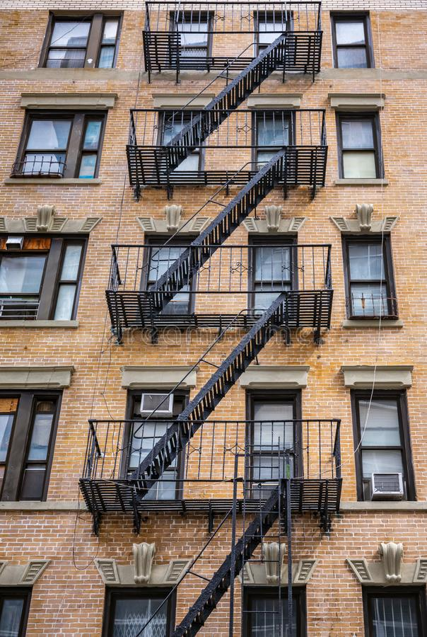 Escape fire ladders in NYC stock photography