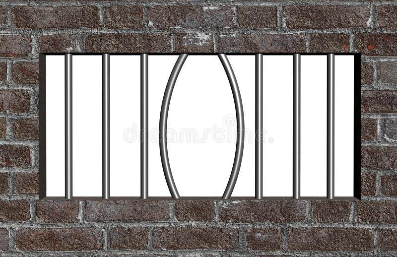 Escape från fängelse royaltyfri illustrationer