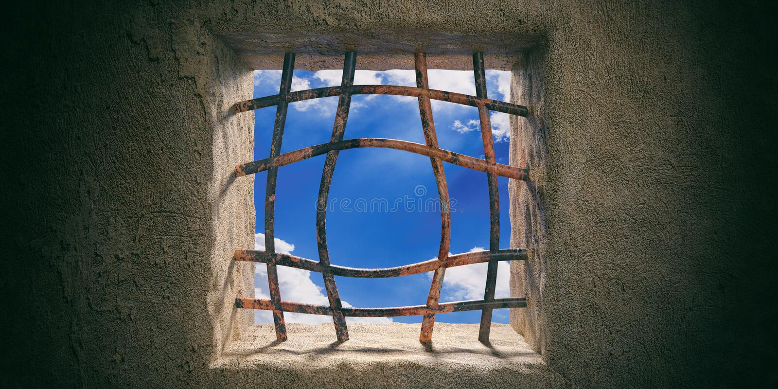 Escape, freedom. Prison, jail window, blue sky view, rusty open bended bars on old wall background. 3d illustration stock illustration