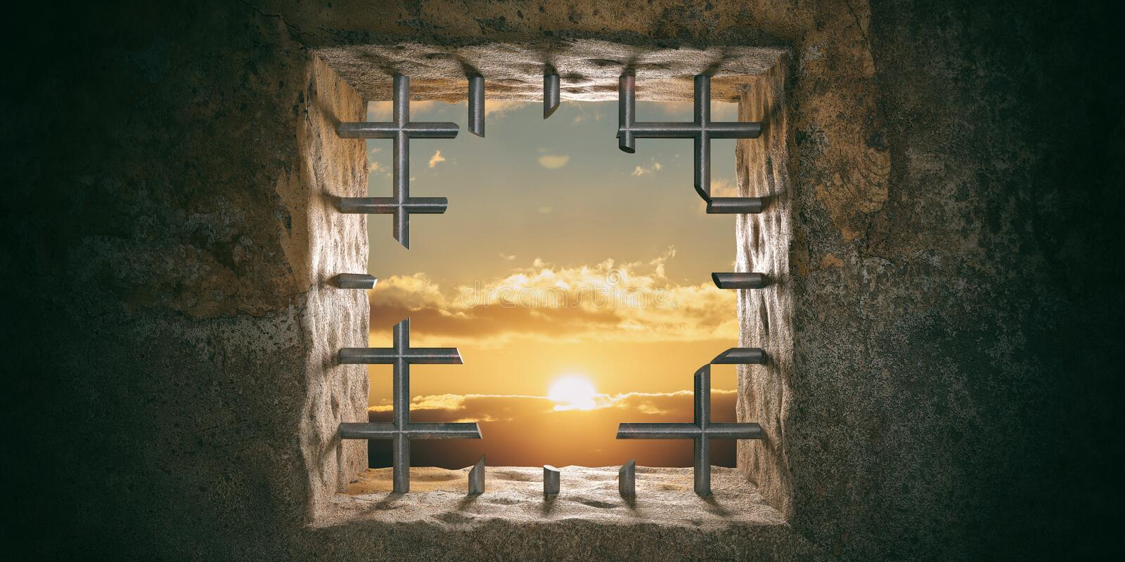 Escape, freedom. Prison, jail window with cut bars, sunset, sunrise view. 3d illustration royalty free stock photo