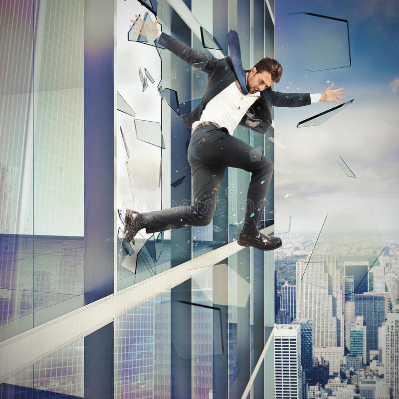 Escape by jumping off stock photography