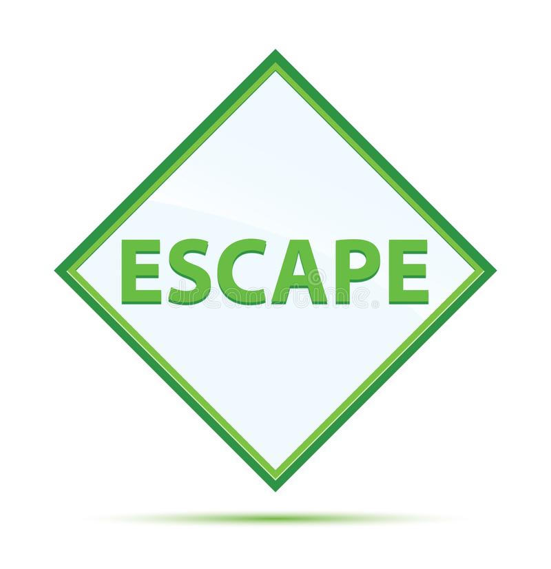 Escape modern abstract green diamond button. Escape Isolated on modern abstract green diamond button royalty free illustration