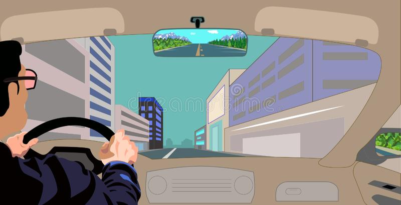 Escape from nature in the stone jungle. A look at the city road through the windshield of the car. Nature view through the rearview mirror vector illustration