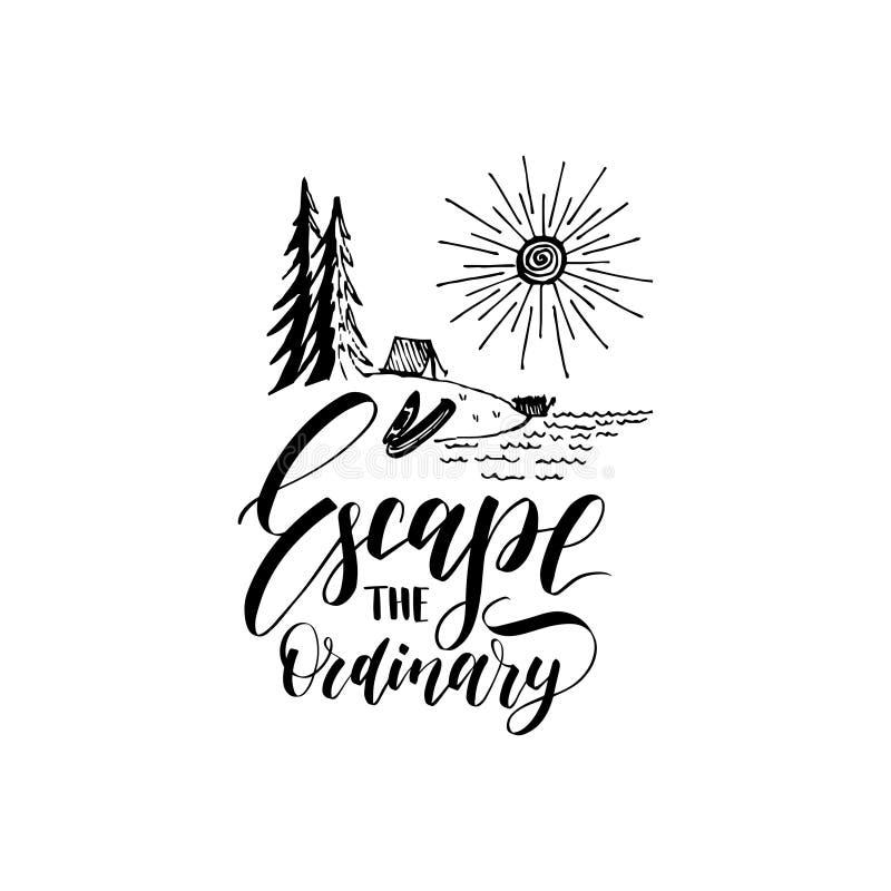 Escape o cartaz ordinário com rotulação Vector o molde turístico da etiqueta com ilustração tirada mão do lago da floresta ilustração do vetor