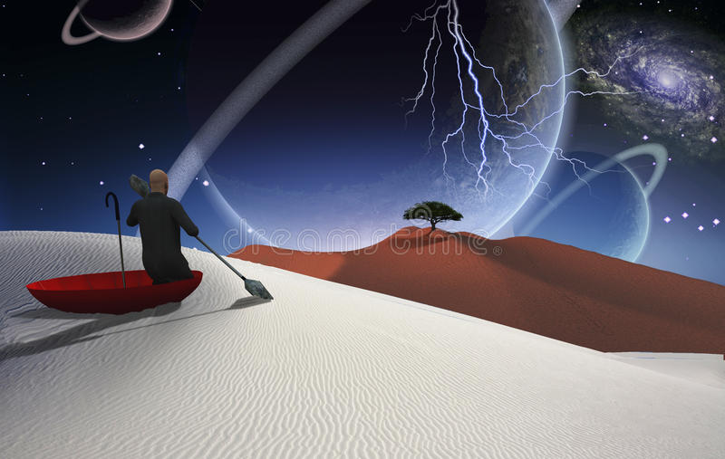 Escape from reality. Surreal painting. Man in red umbrella floating on white desert. Green tree at the horizon. Big planets in the sky stock illustration