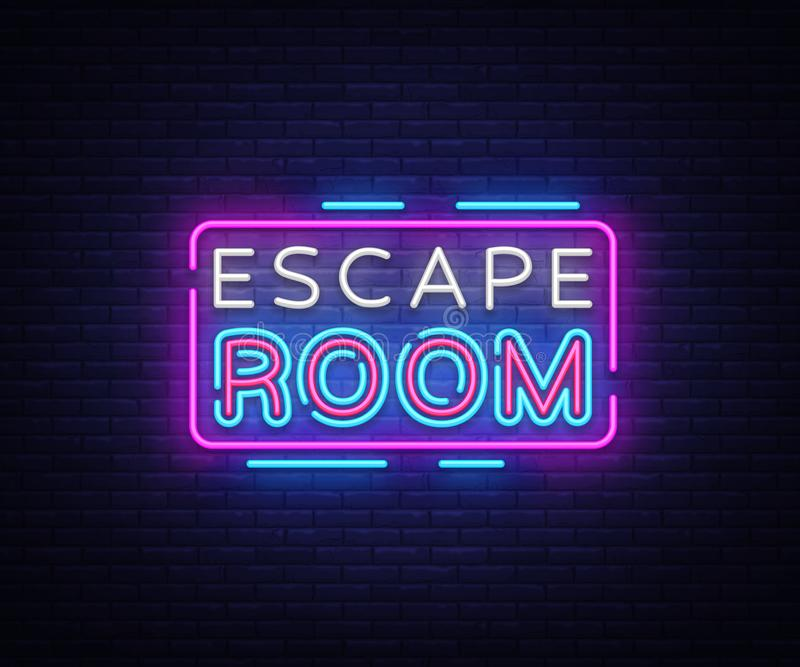 Escape Room neon signs vector. Escape Room Design template neon sign, light banner, neon signboard, nightly bright. Advertising, light inscription. Vector vector illustration