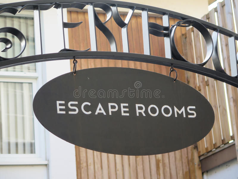 Escape rooms advertising stock images
