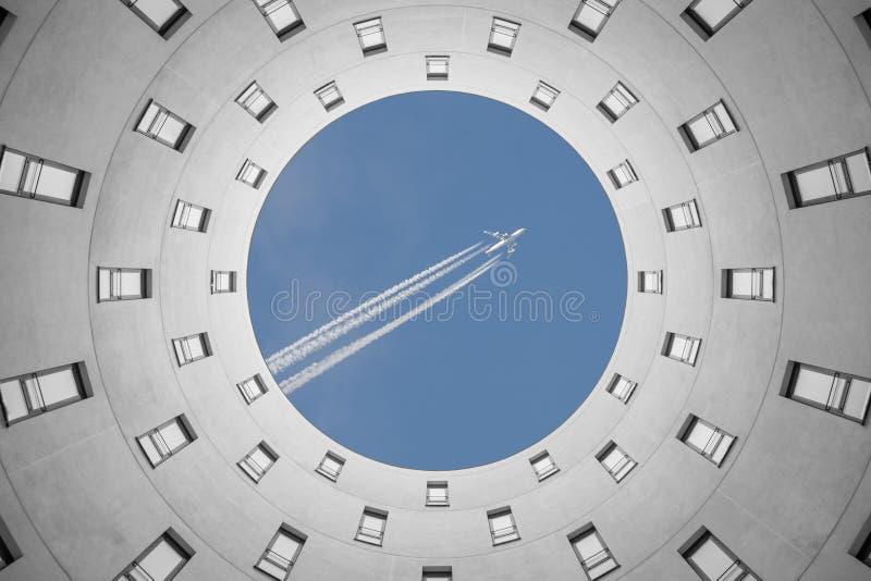 Escape to vacation out of office modern irregular circular build stock photos