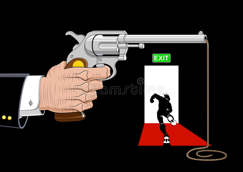 Escape from violence. Conceptual illustration about escape from violence. Available in vector EPS format royalty free illustration