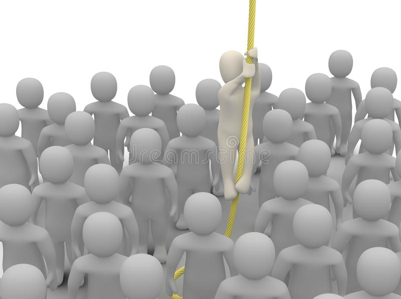 Escaping from crowd royalty free illustration