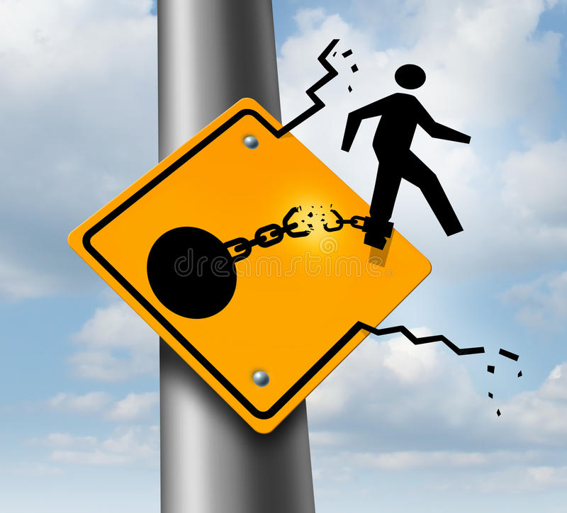 Escaping. To freedom business concept as a businessman symbol on a traffic sign breaking free from the restrains of a ball and chain as a success metaphor of a stock illustration
