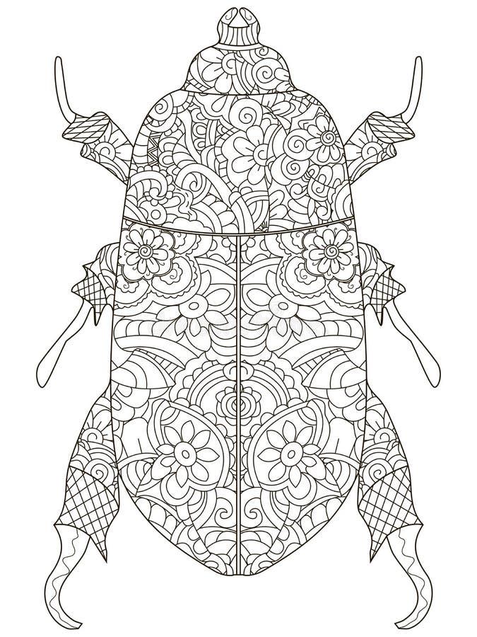 Escarabajo Darkling Libro de colorear anti de la tensión Escarabajo del egipcio del objeto de la trama Líneas negras en un fondo  libre illustration