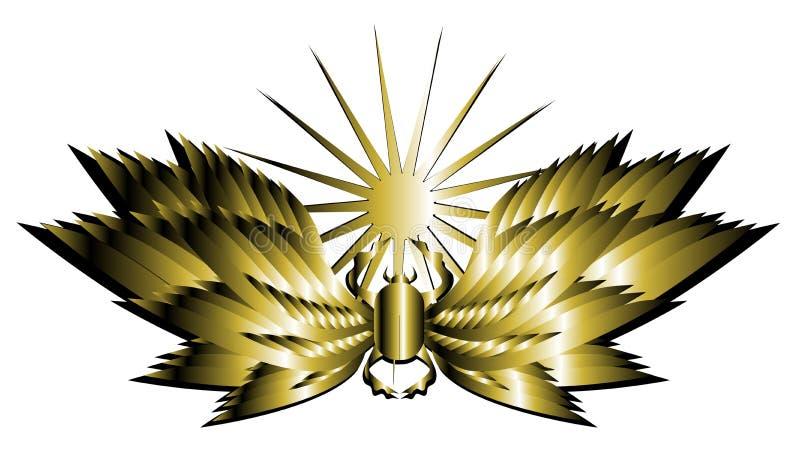 Escarabajo de oro artístico con las alas y el sol aislados ilustración del vector