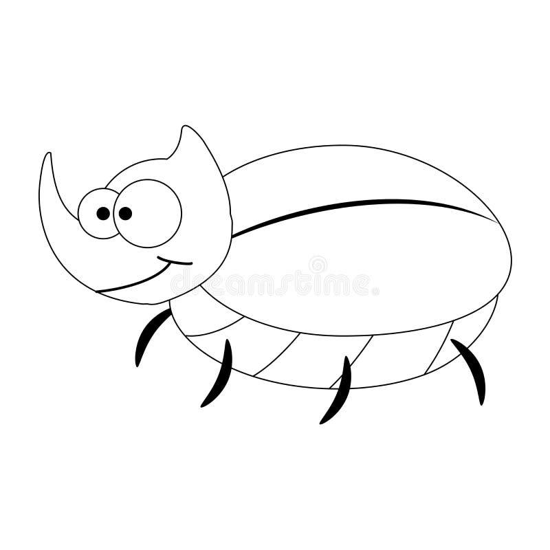 Escarabajo de rinoceronte divertido de la historieta de Colorles stock de ilustración