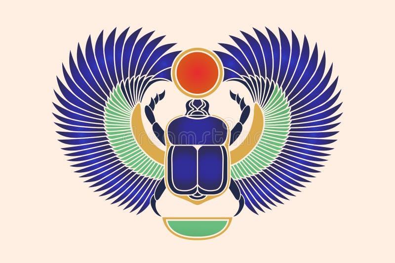 Escarabajo del escarabajo con las alas, el sol y una luna creciente Cultura egipcia antigua Amanecer de la mañana de Khepri Sun d ilustración del vector