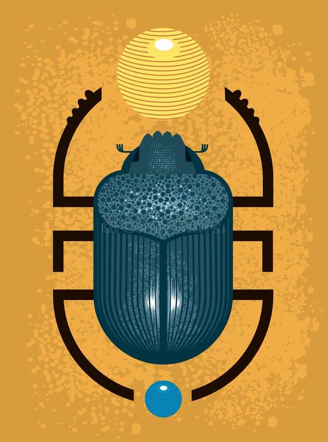 Escarabajo del escarabajo - un símbolo de Egipto antiguo, estilo geométrico ilustración del vector