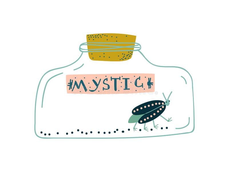 Escarabajo en la botella de cristal, objeto mágico, ejemplo del vector de la cualidad de la brujería ilustración del vector