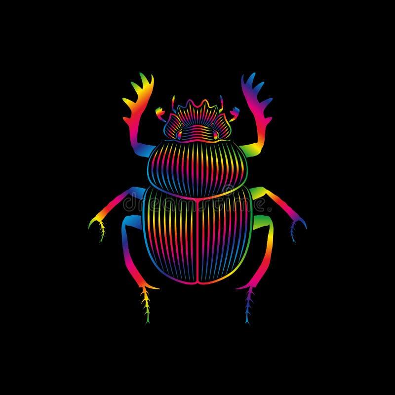 Escarabajo estilizado en colores del espectro en fondo negro stock de ilustración